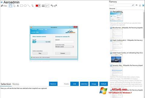 Στιγμιότυπο οθόνης AeroAdmin Windows 7