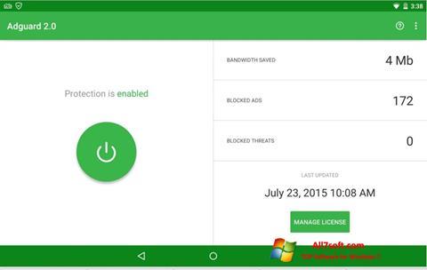 Στιγμιότυπο οθόνης Adguard Windows 7