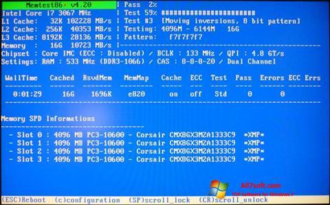 Στιγμιότυπο οθόνης MemTest Windows 7