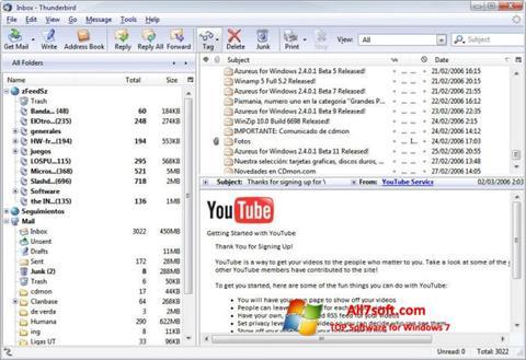 Στιγμιότυπο οθόνης Mozilla Thunderbird Windows 7