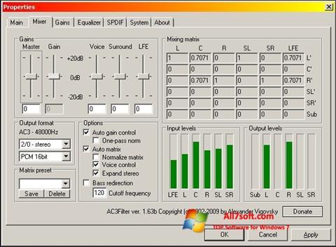 Στιγμιότυπο οθόνης AC3 Codec Windows 7