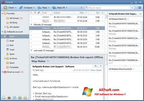 Στιγμιότυπο οθόνης FoxMail Windows 7