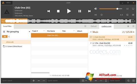 Στιγμιότυπο οθόνης AIMP Windows 7