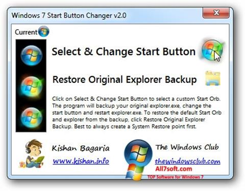 Στιγμιότυπο οθόνης Windows 7 Start Button Changer Windows 7