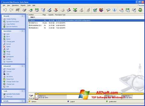 Στιγμιότυπο οθόνης Acronis Partition Magic Windows 7