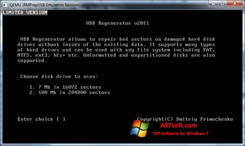 Στιγμιότυπο οθόνης HDD Regenerator Windows 7