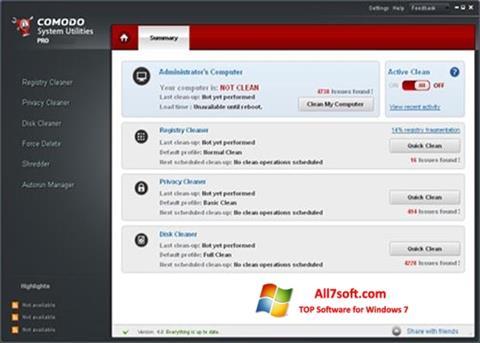 Στιγμιότυπο οθόνης Comodo System Utilities Windows 7
